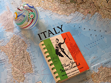 map of italy & book